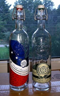 Two (2) 360 Vodka Empty Bottles with self cappers. Perfect for home distillery