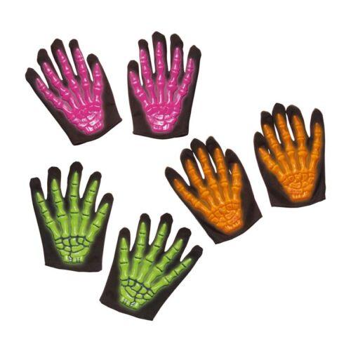 3D SKELETT KINDER HANDSCHUHE Halloween Sensenmann Kostüm Zubehör Neon-grün 8409