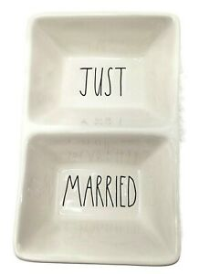 New-Rae-Dunn-Just-Married-Divided-Tray-Rectangular-Ceramic-Dish