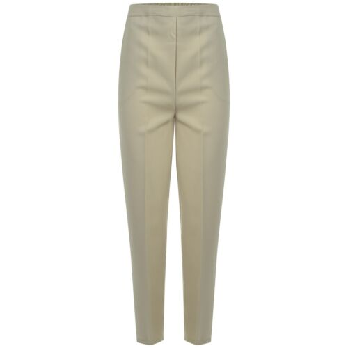 WOMENS HALF ELASTICATED STRETCH WAIST WORK OFFICE TROUSERS POCKETS LADIES PANTS