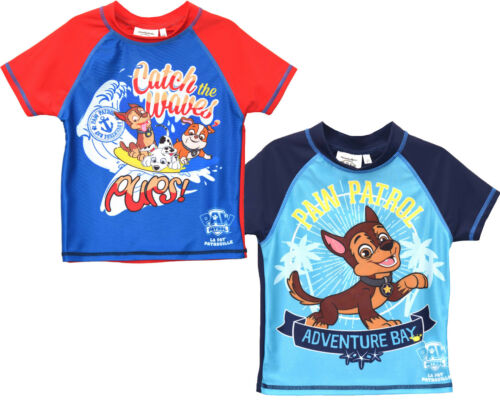 OFFICIAL FULLY LICENSED PAW PATROL 50UV RAYS SUNSAFE SWIM SHIRT//TOP 3-8 YEARS