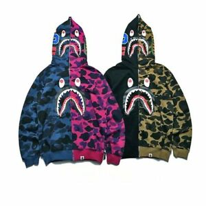 Bape-Bathing-ape-Jacket-SHARK-Head-Camo-FULL-ZIP-HOODIE-Long-Sleeve-Clothes