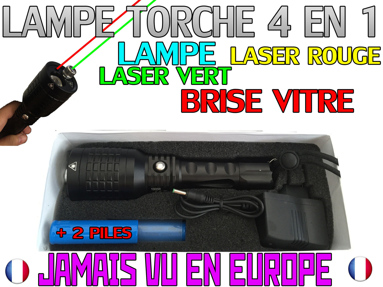 LINTERNA ELÉCTRICA 4 EN 1 4000 LUMENS 1000W LED FLASHLIGHT LÁSER red & green