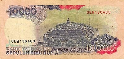 Asia Sweet-Tempered Indonesia 10,000 Rupiah 1992/95 P 132 Series Oew Circulated Banknote Red Paper Money: World