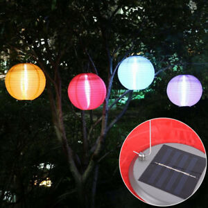 1pc 12in 4colors hanging paper lantern solar power led chinese party