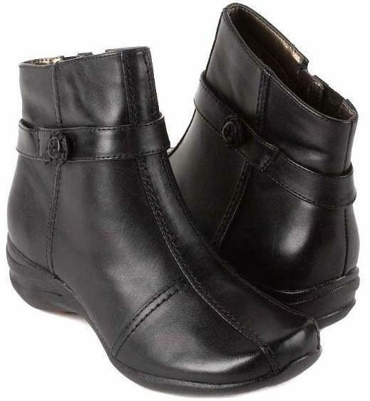 New HUSH PUPPIES Women Leather Ankle Slip On Side Zip Wedge Boot shoes Sz 9.5 M