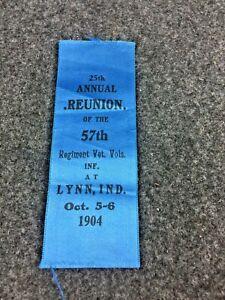 Civil War 1904 GAR Reunion Ribbon of the 57th Regiment Veteran Vols Infantry