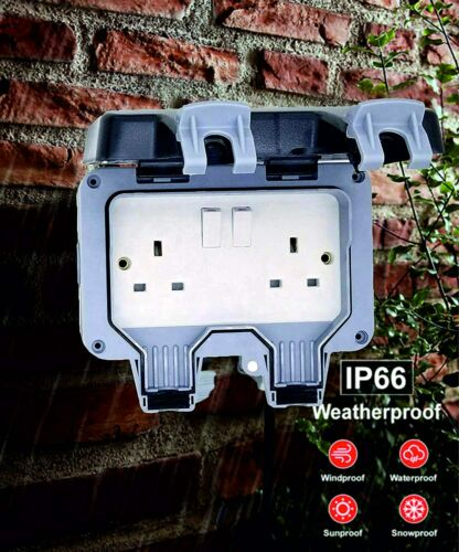 Storm Proof 2-Gang IP66 Weatherproof Outdoor Switched 13A Socket Double Pole NEW