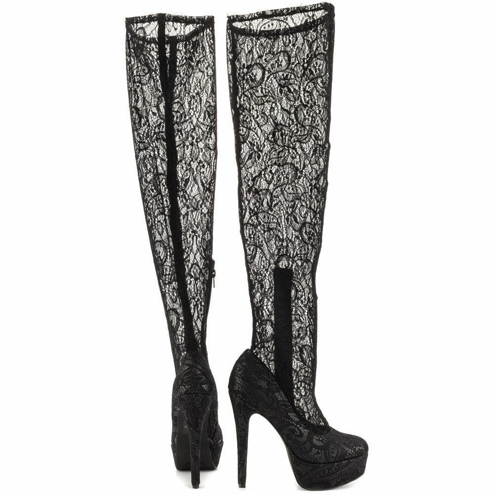 LFL LUST FOR LIFE PICO HIGH PLATFORM OVER KNEE BLACK LACE SHAFT SEXY BOOTS H90