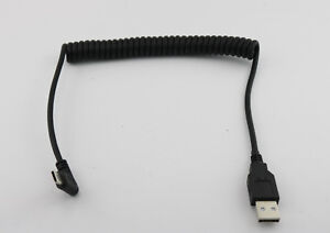 1x USB 2.0 A Female to Male Left Angled 90 Degree Spiral Coiled Cable 1.5m//5ft