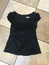 Beautiful Nanette Lepore Silk Satin Black Cap Sleeve Top Blouse 0