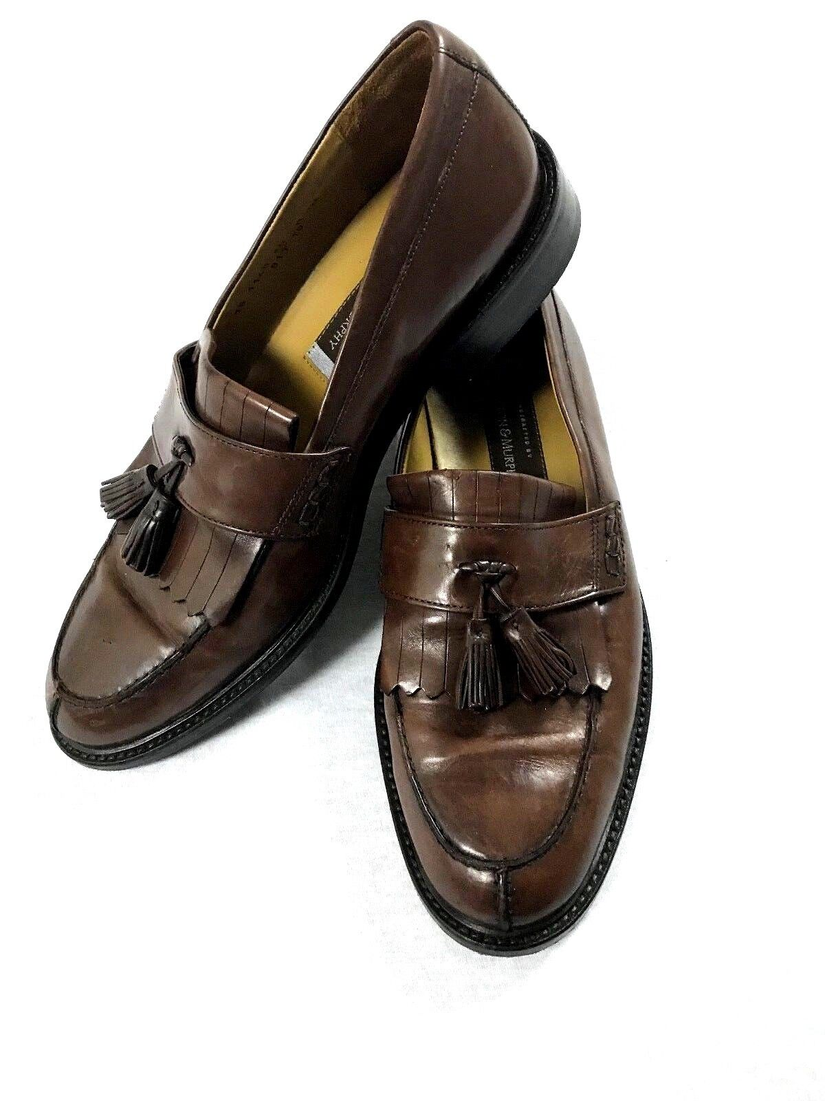 Johnson & Murphy Mens Brown Leather Tassle Loafers shoes Size 10 M