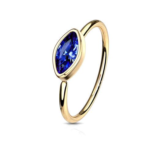 Cartilage Ring Bezel Set Marquise Gem for Rook Daith 1pc Bendable Nose Hoop