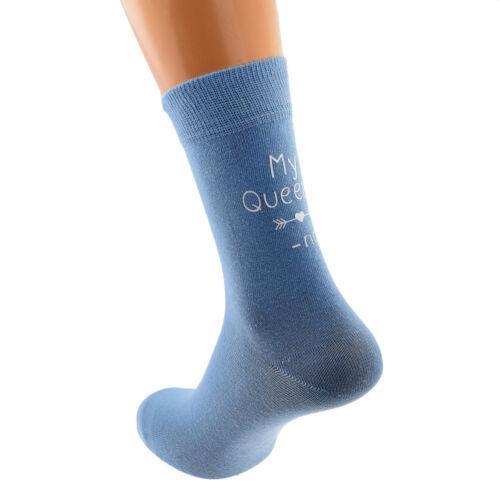 My Queen Personalised First Name Design Pale Blue Ladies Socks UK 4-8 X6N756