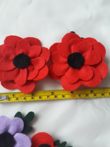 4 traditional 4 standard /& 2 purple Set of 12 assorted poppies 2 double