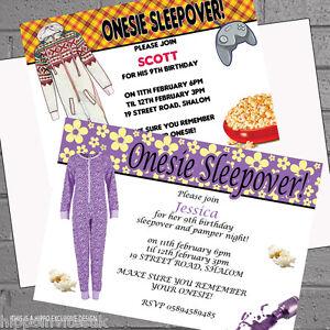 image is loading personalised boys girls pyjama sleepover birthday party invitations - Sleepover Birthday Party Invitations