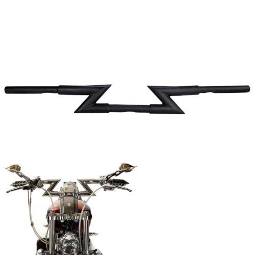 """1/"""" Chrome//Black Crazy Z Bars Handlebars for Harley Chopper Bobber Custom Dyna"""