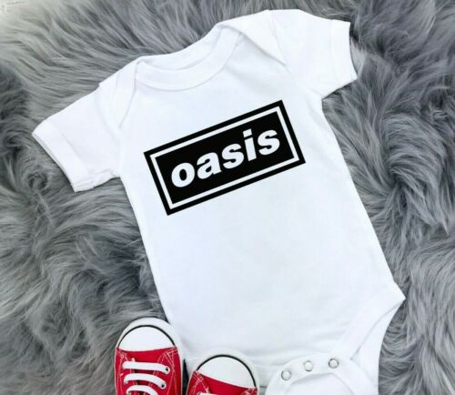 Oasis Cute Baby Shower Vest Babygrow Grow Bodysuit Gift indie music Rock /& Roll