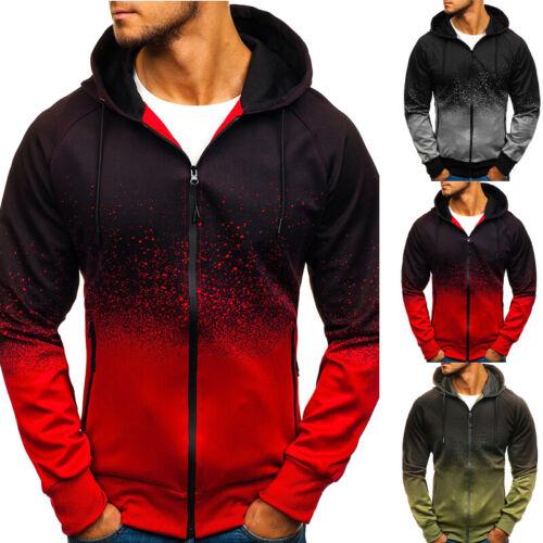 Mens Zip Up Hoodie Hoody Jacket Sweatshirt Casual Gym Sports Hooded Coats Top MW