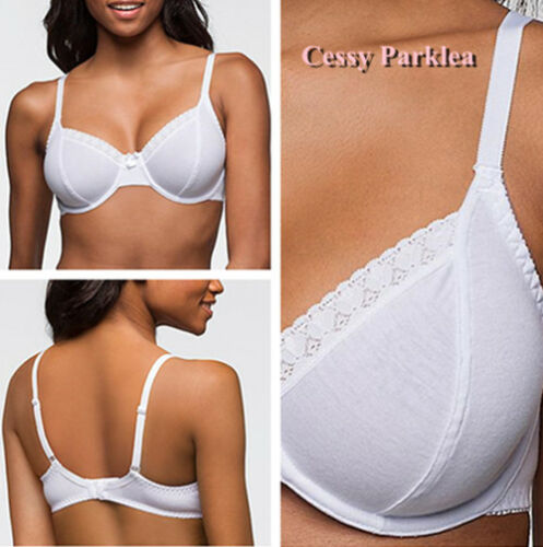 """Germany/""""Bpc/"""" Cotton Non-Padded Lace Trim Wired Full Coverage Bras White Red Pink"""