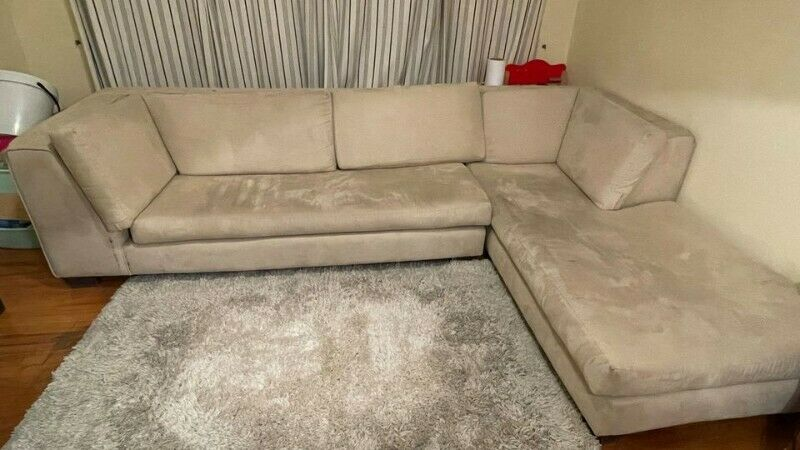 L-Shaped, Beige, Suede Couch For Sale