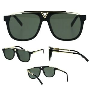 Mens Gradient Lens Flat Top Rectangular Mobster Retro Fashion Hard Sunglasses