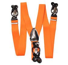 New in box Men's Orange Suspender Braces elastic clips buttons wedding prom