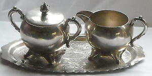 5th-Ave-Antique-Silverplate-Lidded-Sugar-Creamer-amp-Tray-Set-Ships-Free-to-USA