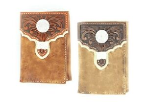 Tony-Lama-Tri-Fold-TOOLED-Leather-Overlay-Silver-Concho-Credit-Cards-16