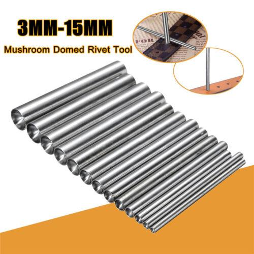3-15MM Mushroom Domed Rivet Leather Belt Band Round Punch Hole Cutter Work  US