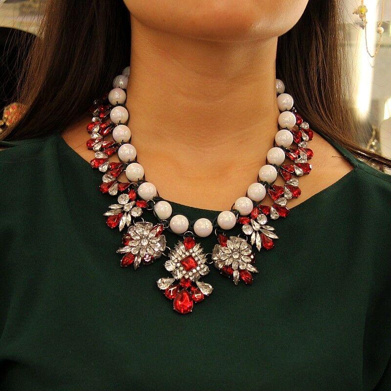 Collana Perla Tessitura Cristallo Stravaganti red Stoffa Artisan Originale SRK