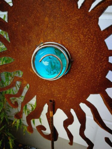Gartenstecker Rost Beetstecker GartenGlaskugel Glasdeko H125*40cm 031930Hellblau