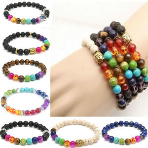 Women-Men-8mm-Bead-Colorful-agate-7-Stone-Reiki-Prayer-Chakra-Healing-Bracelet