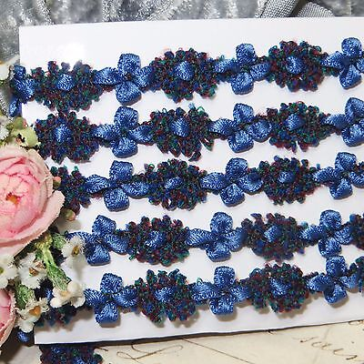 1y FRENCH CHENILLE ROCOCO TRIM NAVY BLUE ROSETTE VTG ANTQ RIBBON DOLL JACQUARD