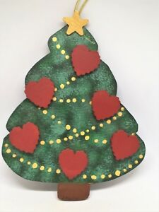Details About Vintage Hand Crafted And Hand Painted Wood Christmas Tree Family Ornament