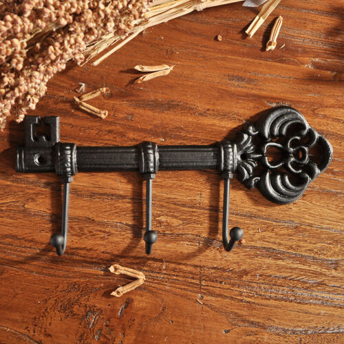 Schwarz Wall Mounted Hook Vorräte Schlüssel Halter mit 3 Haken Gusseisen /& Tool