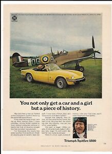 1973-Yellow-TRIUMPH-SPITFIRE-1500-Print-Ad-Ginger-Lacey-RAF-Ace