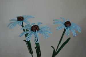 3 NEW Small French beaded Flowers Handmade Blue Cone Flowers spring flower stems