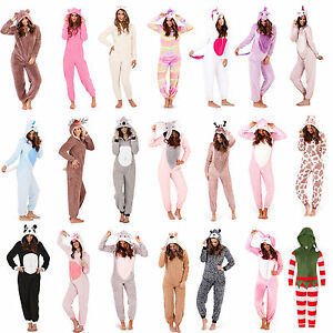 Ladies-Girls-Fleece-All-In-One-Loungewear-Pyjamas-Outfit-Costume-Hood-Size-8-22