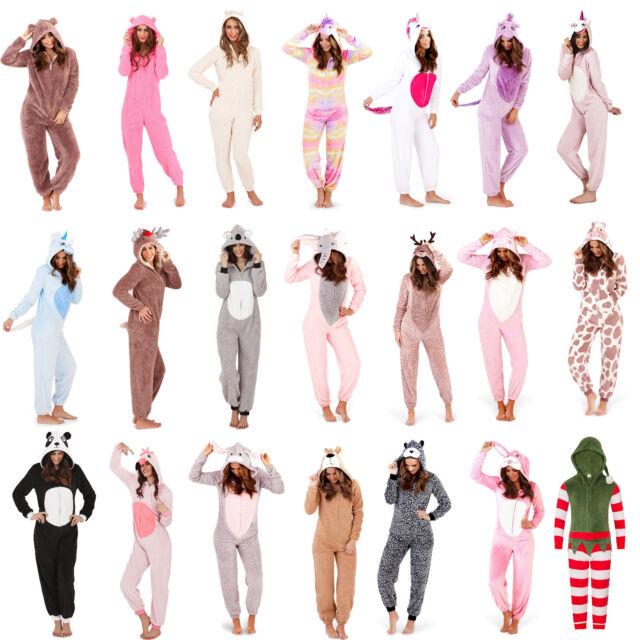 Femmes/Filles Polaire Tout en un de détente Pyjamas Tenue Costume Capuche Taille 8-22