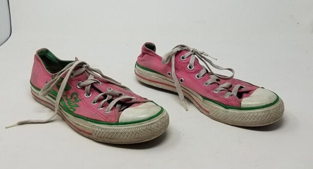 Converse All Star Chuck Taylor Pink & Green Low Top Lace Sneakers Shoes Womens 8