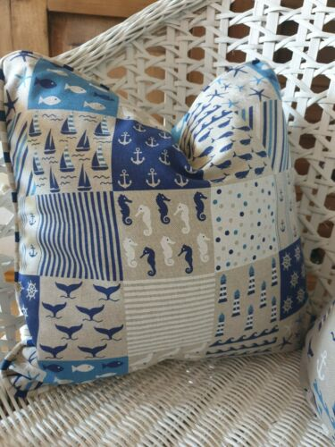 Pillow Case Lighthouse Sea with Keder Cushion Cover Linen Look Piping Handmade