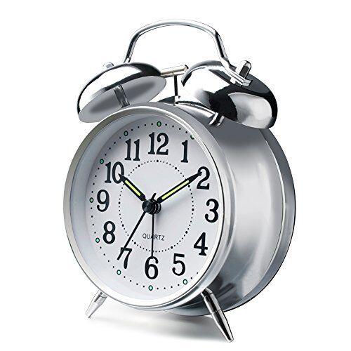 "Peakeep 4/"" Twin Bell Alarm Clock Red-Brown"