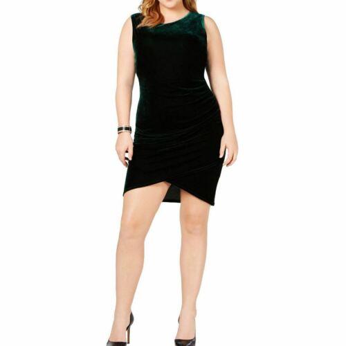 SOPRANO NEW Women/'s Hunter Green Plus Size Ruched Velvet Bodycon Dress 2X TEDO