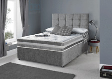 CRUSHED VELVET DIVAN BED & MEMORY MATTRESS & HEADBOARD 3FT 4FT 4FT6 Double 5FT