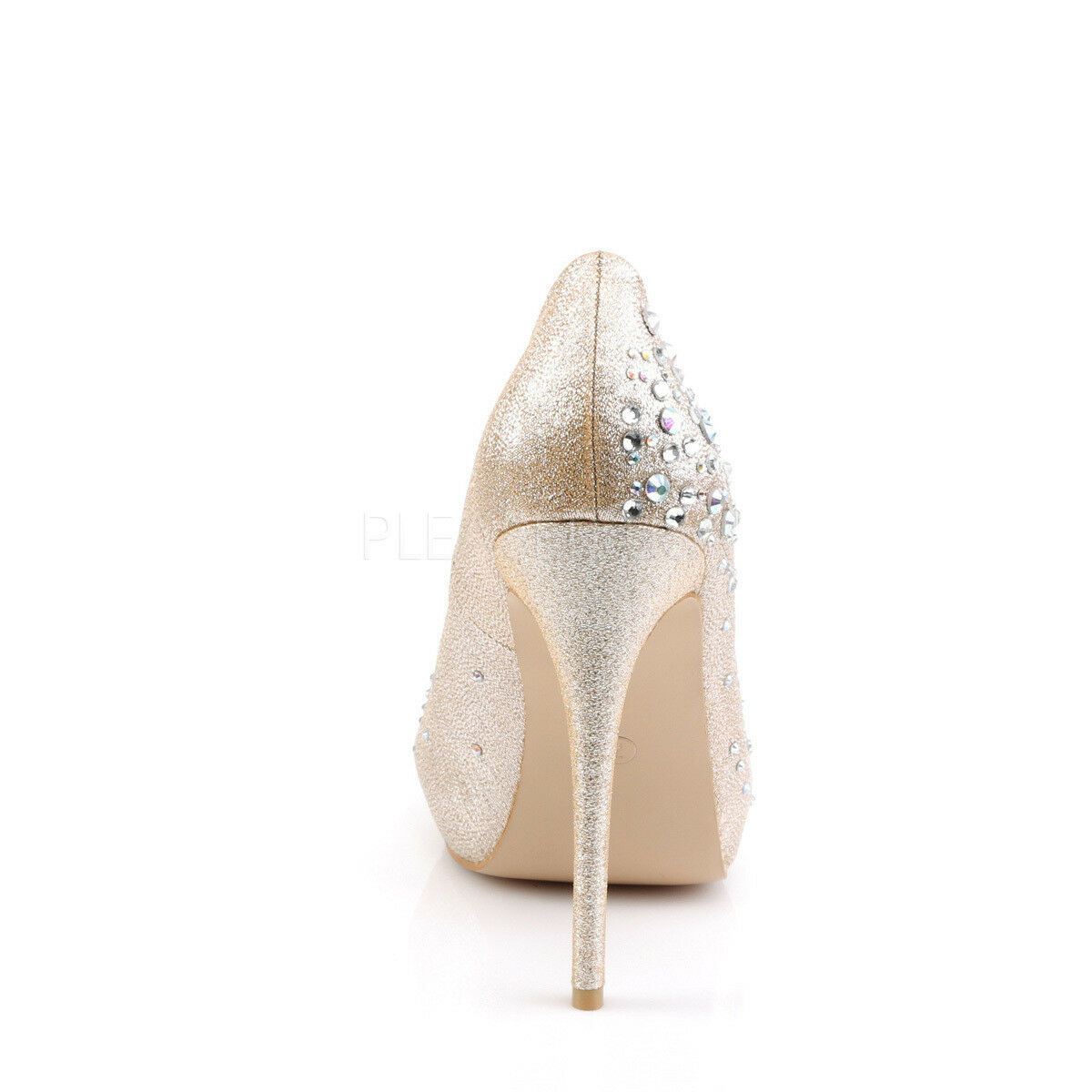 Heiress-22R sexy High High High Heels Peep Toe Pumps hautfarben mit Glitzersteinchen Gr 35 039313