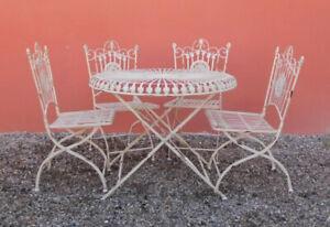 Tavolo Tondo 4 Sedie.Dettagli Su Tavolo Tondo E 4 Sedie Da Giardino Esterno Stile Antico Realizzate In Ferro