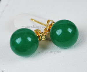 Natural 10mm Green Jadeite Jade Gold plating 925  Silver Stud Earrings