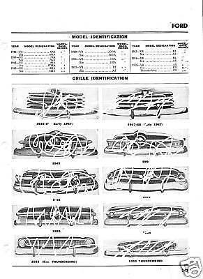 46 47 48 49 50 51 52 53 54 55 Ford NOS Grille Part List