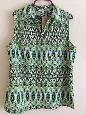 Notations Woven Top Blouse Tunic Shirt Boho Sleeveless Neon Green L Large #K0816